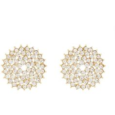 Charlotte Russe Faceted Rhinestone Statement Earrings ($6) ❤ liked on Polyvore featuring jewelry, earrings, gold, round earrings, sparkle jewelry, charlotte russe, evening earrings y rhinestone statement earrings