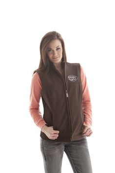 H00338| Cowgirl Tuff Company classic vest style. Coral and turquoise embroidery pop across the front and back of this microfiber. Rustic Brown. Polyester/spandex/polyester polar fleece. MSRP $84.99