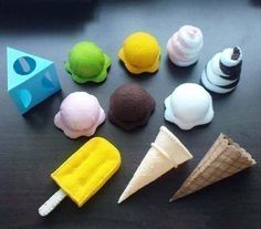 Felt food ice cream , colors and counting