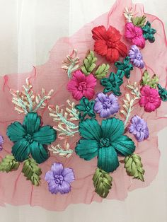 Items similar to Handmade flower lace applique in jade pink mix color for wedding hair flower, baby headband on Etsy Hand Embroidery Design Patterns, Ribbon Embroidery Tutorial, Hand Embroidery Dress, Cute Embroidery, Hand Embroidery Stitches, Silk Ribbon Embroidery, Lace Applique, Machine Embroidery, Lace Decor