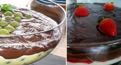 receitas-de-sobremesas-para-natal-e-festas-em-tacas-ou-copinhos-creme-de-uva-italia-ou-morango-e-chocolate Appetizer Recipes, Appetizers, Salty Foods, Trifle, Marshmallow, Pesto, Sweet Recipes, Panna Cotta, Cheesecake