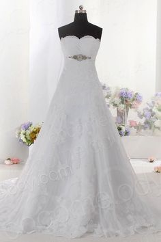 Delicate A-Line Strapless Empire Train Lace Ivory Sleeveless Lace Up-Corset Wedding Dress with Sashes and Bowknot CWLT1404B $298.93 wedding dress, wedding dress, wedding dress, wedding dress, wedding dress