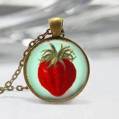 Vintage Strawberry Pendant Glass Pendant Picture Pendant |Strawberry Charm Strawberry Necklace Strawberry Jewelry 185