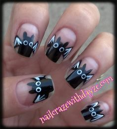 Bat Nails, Step by step tutorial on www.nailcrazewithdayze.com