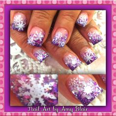 Pink and purple snowflakes nails