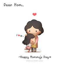 To my mom, and hope all the awesome mums in the world have the loveliest day! This was drawn for mother's day but I'm sure everyday can be mother's day and remember to show them your love and give them a big sweet hug! Cute Love Cartoons, Funny Cartoons, Cute Love Stories, Love Story, Anime Chibi, Sweet Hug, Hj Story, Chibird, Dear Mom