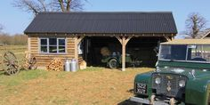 The Kenchester - two bay single storey oak framed garage or car port by Oakwrights. Can be erected or supplied as an oak frame kit Timber Frame Garage, Oak Framed Extensions, Garage Kits, Wood Shed, Outdoor Spaces, Outdoor Decor, Roof Tiles, Garage Design, Outdoor Structures