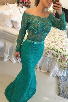 Elegant Off Shoulder Turquoise Lace Mermaid Prom Dresses 2017 Fashion Pearls Beaded Appliqued Formal Evening Gowns Off Shoulder Turquoise Lace Prom Dresses 2017 Long Sleeve Prom Evening Gowns Beaded Appliqued Formal Evening Gowns Online with $158.29/Piece on Yaostore's Store   DHgate.com