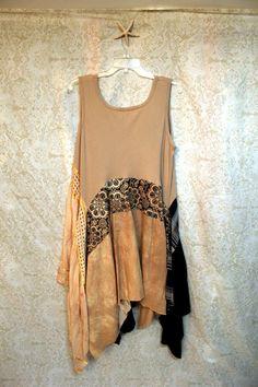 Boho Plus Size Shirt, Shabby Chic Romantic, Bohemian Junk Gypsy Style, Mori Girl, Lagenlook, Cowgirl Country Girl Chic, Coachella Music Fest