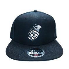 9d8c43d9b04 CHECKARD GERNADE FLAT SIX PANEL PRO STYLE SNAPBACK HAT  1020 Black Snapback  Hats