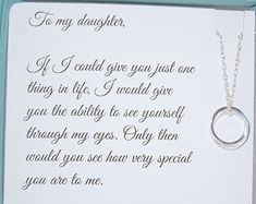 DAUGHTER necklace, wedding gift, To Daughter from Mom, Daughters POEM, Birthday gift for daughter, wedding gift for daughter