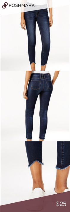 Kut from the Kloth Connie Frayed-Hem Jeans In pristine condition. Mid rise; skinny fit through hips and thighs skinny legs. High low frayed hem. All over dark wash with whiskers and fading. Inseam 27 - 1/2 inches. Kut from the Kloth Jeans Ankle & Cropped