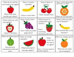 Free! Fruity Speech! Address language skills such as concepts, vocabulary, categorizing and answering questions with this versatile activity. ALSO, this game is a great way to address or assess carryover of articulation and fluency skills in spontaneous connected speech