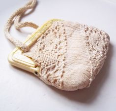 Vintage Off-White Gauze Purse w/ Celluloid Frame, Hand-Crocheted Lace Embellishment - Long Cotton Cord Strap - Yellow and Green Flowers