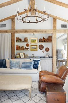 built in shelves with exposed beams  One Kings Lane visits Patina Farm