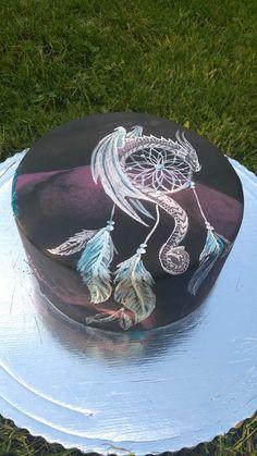 Dream catcher - Cake by Blacksun Pretty Cakes, Cute Cakes, Beautiful Cakes, Amazing Cakes, Native American Cake, Dream Catcher Cake, Boho Cake, Fantasy Cake, Dragon Cakes