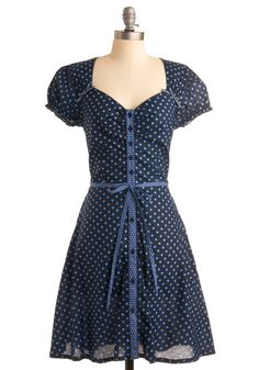 For keeping up the tally of stylish young ladies out there, for never forgetting what an adorable blue dress like this can do for your attitude, and for feeling as flirty in this fun polka dotted dress as possible, we want to thank you! After all, a smile is contagious, and how could you not smile at the swooping V-neckline, dotted tie belt and button panel, and pure cotton make of this frock? $104.99