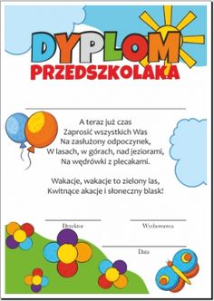 Dyplom przedszkolaka Diy And Crafts, Crafts For Kids, 1 Logo, School Holidays, Kids Education, Kindergarten, Teacher, Graduation, Furniture