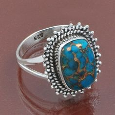 925 SOLID STERLING SILVER AMAZING BLUE COPPER TURQUOISE RING 5.47g DJR5456 #Handmade #Ring