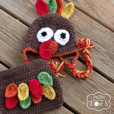 Crochet Turkey Hat and Diaper Cover Set