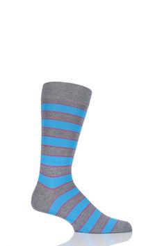 Mens 1 Pair Richard James Hernandes Highlighted Striped Cotton Lisle Socks £16.99