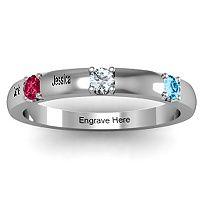 Elegant Three Gemstone Ring