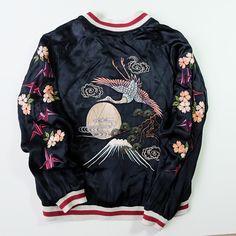 2014 Vogue Tokyo Japanese Embroider Baseball Bomber Jacket Carp