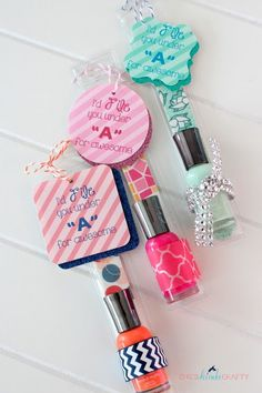 Cute and inexpensive nail polish and file favors for a Sweet 16 party.  It is also a great teacher appreciation gift for the end of the school year.