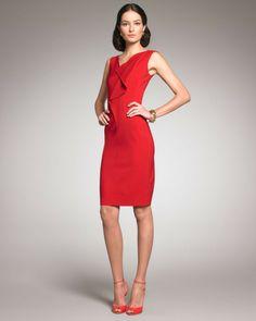 Sleeveless Front-ruffle Dress - Lyst