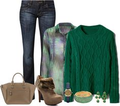 """Green Sweater"" by doris610 on Polyvore"
