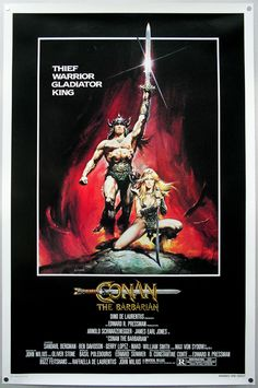 The American one sheet for Conan the Barbarian, painted by Renato Casaro in 1982 after the artist made a memorable visit to the film's Almeria set. The artwork was used around the world to promote the film and is arguably Renato's most famous work.