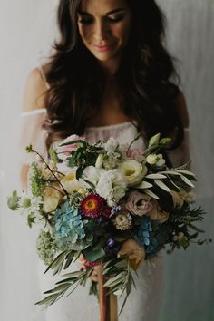 Moody blooms ~ hydrangea, David Austin and olive leaft bouquet