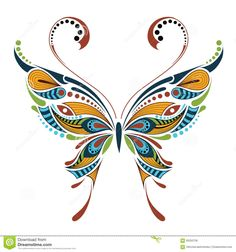 Patterned Colored Butterfly. African / Indian / Totem / Tattoo ...