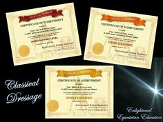 Some of the certificates for the Classical Dressage program
