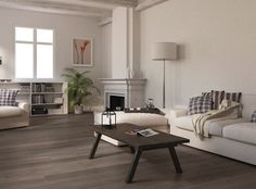 Grey wood floor..