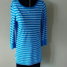 Top Blue and white stripes, cute little pocket on the left sleeve. Lucky Brand Tops