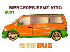 Mercedes Benz Vito 2001 picture.  Author's version of Mercedes Benz Vito car paint called Carrot. Click on the picture and go to a web page with color and outline the image of this car.   For printing and coloring pencils, paint or markers. Raskraska free project for kids since 1999 year   from russian artist Alexander Babushkin. odigif@gmail.com Mercedes Benz Vito, Car Painting, Car Pictures, Projects For Kids, Carrot, Colored Pencils, Outline, Markers, Coloring