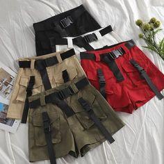 A-line High Waist Slim Shorts – TopFashionova Teen Fashion Outfits, Edgy Outfits, Swag Outfits, Retro Outfits, Cute Casual Outfits, Look Fashion, Korean Fashion, Girl Outfits, Grunge Outfits