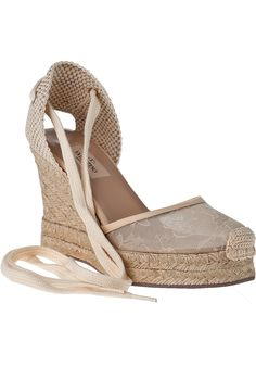 a34c35a9f0a Valentino Glamorous Lace Leather Espadrille Wedges - Lyst