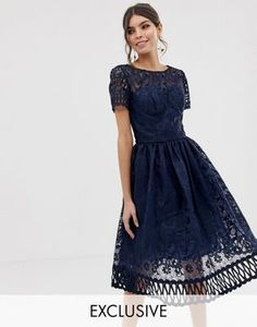 Chi Chi London premium lace dress with cutwork detail and cap sleeve in navy 700b17d3a2e