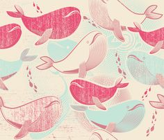 The Whales Reunion fabric by chickoteria on Spoonflower - custom fabric- NUMBER 2 of the Whales Design Contest! Textures Patterns, Fabric Patterns, Cool Patterns, Print Patterns, Surface Pattern Design, Pattern Art, Textiles, Nautical Pattern, Pattern Illustration