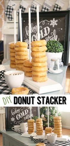 DIY Donut Halterung, eine andere Art Donuts an einer Party zu servieren. Perfekt für ein Buffet.