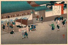 Yaji and Kita look for lodging in Sakanoshita, the station along the Tokaido. Japan Painting, A Comics, Artist, Prints, Illustrations, Parking Lot, Voyage, Artists, Illustration