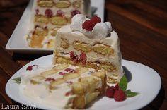 Prajitura cu zmeura si piscoturi Romanian Food, Romanian Recipes, Vanilla Cake, Mai, French Toast, Cheesecake, Deserts, Breakfast, Pastries