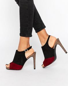 Color Block Peep Toe Heeled Shoe - Faux suede - Color block - Peep toe - Open back - Pin buckle fastening - Wipe clean with a damp cloth - FREE SHIPPING