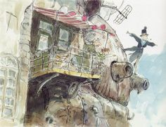 Concept art Howl's Moving Castle - Studio Ghibli - Castle exterior