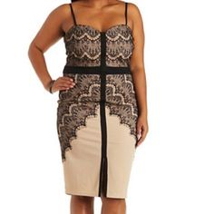 Plus size Strappy Bodycon Dress with Black Lace New without tags.  Nude/beige base with black lace.  Size 2X but fits best on a 1X or small 2X.  Very cute for the holidays! Sweetheart neckline.  Cocktail dress.  Never worn. Charlotte Russe Dresses