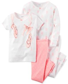 Your tiny dancer will be ready to twirl into dreamland in the cozy tops and bottoms in this ballet-themed four-piece pajamas set from Carter's. | Cotton | Machine washable | Imported | Graphic top: pi