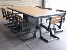 Vintage Industrial Dining Table and Chairs by VintageIndustrial, $13300.00