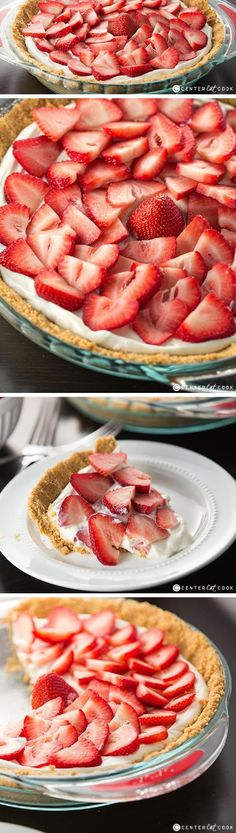 Heavenly STRAWBERRIES and CREAM PIE with fresh strawberries atop a sweet light and fluffy filling! Easy to make, this Strawberry Pie is going to quickly become a family favorite!